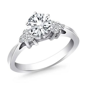 14K White Gold Cathedral Engagement Ring with Side Diamond Clusters, size 8