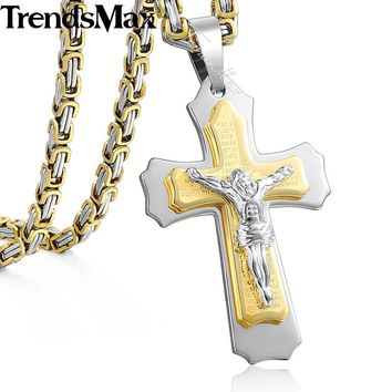 Men's Necklace Gold Multilayer Cross Christ Jesus Pendant Stainless Steel Byzantine Men's Chain Gift Jewelry 55cm KPM141