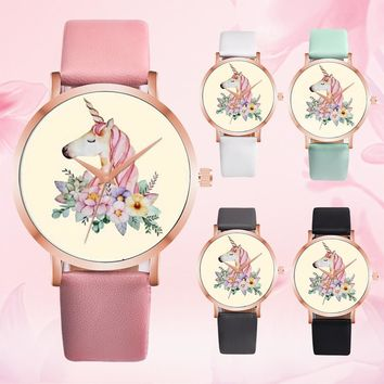 Fashion Cute Animal Women Girl Leather Band Analog Alloy Quartz Watch