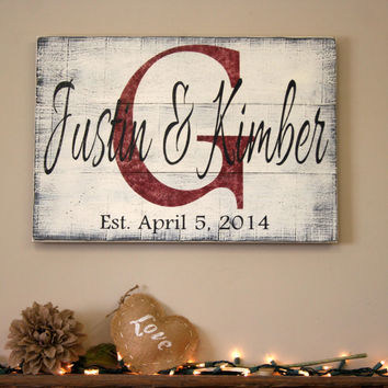 Personalized Sign Custom Name Sign Family Name Sign Pallet Sign Wedding Gift Bridal Shower Gift Distressed Wood Shabby Chic Housewarming