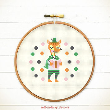 Modern Cross stitch pattern PDF - Fox Love Reading - Xstitch Instant download- READING POWER -Happy Fun Cute Fox Love Robin Hood Animal Book
