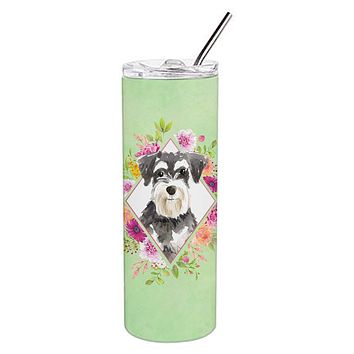 Schnauzer #2 Green Flowers Double Walled Stainless Steel 20 oz Skinny Tumbler CK4382TBL20