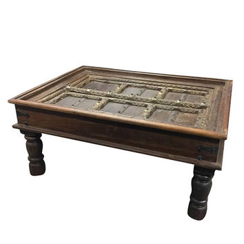 Antique Handcarved Haveli Door Table Unique Style Coffee Table Furniture  Bohemian Decor  FREE Ship
