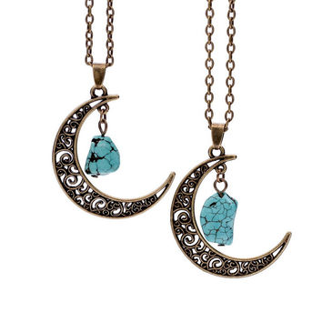 Natural Gemstone Moon Necklaces