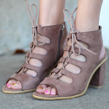Cavaly Lace Up Suede Heels {Taupe}