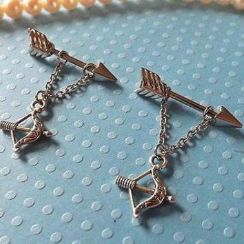 Arrow with Bow and Arrow  Ring 14ga 1 SET