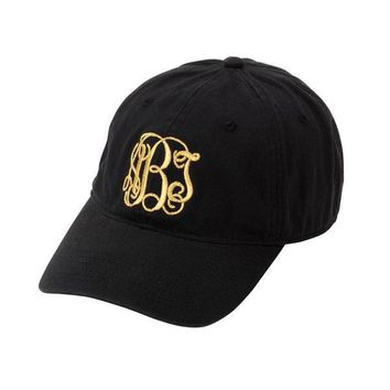 CLEARANCE Monogram Black Preppy Cap / Softball Cap / Baseball Cap/ Ball Cap/ Softball Hat