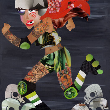 Roller Derby wall art, Mixed Media collage art, Christmas gift ideas, derby girl, tattoo artwork, Skull artwork, roller skating