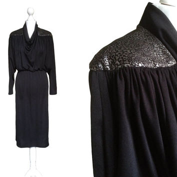 Black And Silver Metallic Dress - 80's Dress - 1980's Vintage Dress - Batwing Sleeves - Cowl Neck Dress