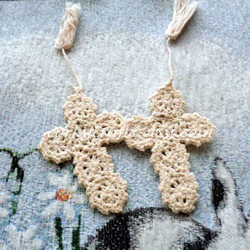 Crochet cross bookmarks set of two, Christening/Baptism/gift card enclosures gift/free shipping