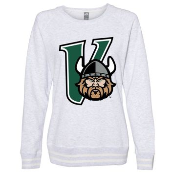 Official NCAA Cleveland State Vikings PPCVU04 Women's Crewneck Sweatshirt with White Striped Edges
