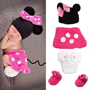 Newborn Cartoon Baby Photo Props Infant Cotton Wool Crochet Knitted Costume Baby Photography Props Clothes