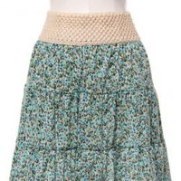 Countryside Picnic Ditsy Floral Skirt with Crochet Waistband in Turquoise | Sincerely Sweet Boutique