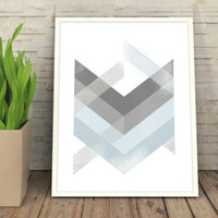 Blue Geometric Print, Poster, Abstract Art, Wall Print