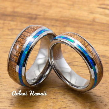 Tungsten Wedding Band Set with Opal and Koa Wood Inlay (6mm - 8mm Width)