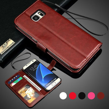 Note 4 Case Retro Wallet Flip PU Leather Case Card Holder Strap Stand Case For Samsung Galaxy S7 Edge Case S6 Edge Note 3 Note 5