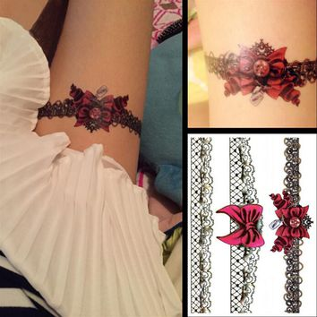 8 style optional tattoo sticker beautiful fashion super sexy female legs temporary water transfer tattoos,Disposable body decals