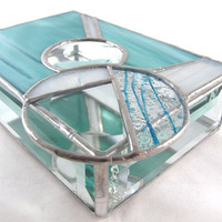 Turquoise White and Bevel Hand Crafted Stained Glass by JiSTglass