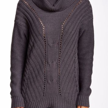 Michael Stars Zip Cable Knit charcoal Sweater size XS-S