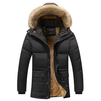 Winter Men Down & Parkas Cotton-padded Jackets Men' s Casual Down Jackets Thicken Coats Overcoat Warm Clothing