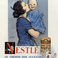 Original Vintage French Ad Nestle Baby 1928