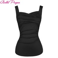 Belle Poque Summer Solid Black Red 2018 Women Hot Sexy Tops Vintage Sleeveless Sweetheart Casual Classic Pinup Fitness Tank Top