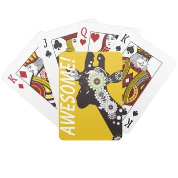 Funky Cool Paisley Giraffe Whimsical Yellow Playing Cards