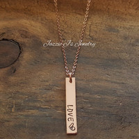 "14k Rose Gold ""Love"" Hand Stamped Necklace, Vertical Bar Necklace, Customizable Name Bar, Gift from kids, Gift For Her, Anniversary Gift"
