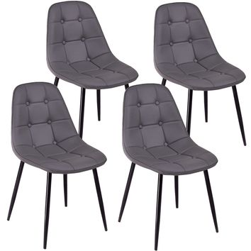 Costway PU Leather Set of 4 Dining Chair Tufted Accent Gray
