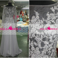 RE213 Long Sleeve Evening dress 2014 Mermaid Chiffon Wedding Long Grey Prom Dress Sequined Lace Evening Dress Beaded Prom dress Girl