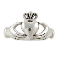 Irish Friendship & Love Celtic Claddagh Band Ring in Sterling Silver, Size 5, #2601