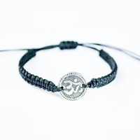 Om Friendship Bracelet Zen Enlighten Spiritual Jewelry Yoga Black Cotton Cord