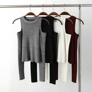 Autumn Women Knitted Long Sleeve Black Off Shoulder Crop Tops Tight Slim White Sexy T-shirt Gray Bodycon Winter Shot Tops