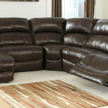 5 pc Damacio collection dark brown leather match upholstered sectional sofa set with power recliners