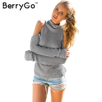 BerryGo turtleneck off shoulder sexy pullover sweater women Tricot oversize jumper pull femme Autumn fashion knitted top