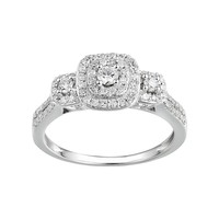Promise Love Forever 1/2 Carat T.W. Certified Diamond Sterling Silver 3-Stone Halo Anniversary Ring (White)