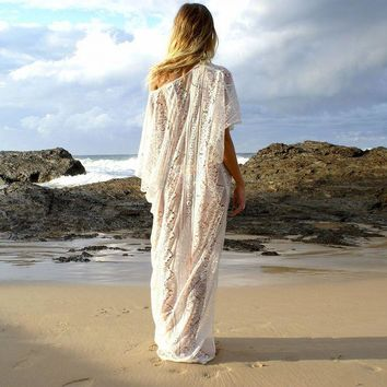 DKLW8 Summer Beach Bathing Suit Lace Cover Ups Women Off One Shoulder Hollow Out Double Side Split Maxi Dresses Loose Bikini Cover-ups