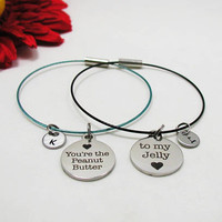 Best Friends Bracelet Set - Best Friends Bangle Set - You're The Peanut Butter To My Jelly Charm - Best Friends Jewelry - Custom Bracelet
