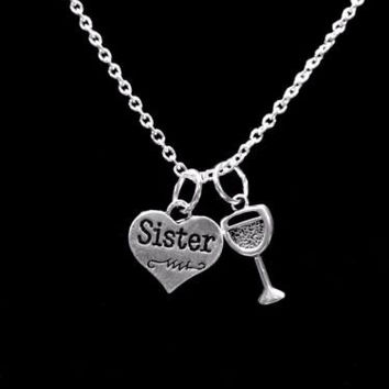 Sister Heart Wine Glass Gift For Sisters Necklace