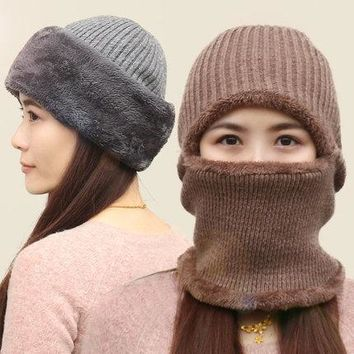 Unisex Multi-Functional Knitted Fleece Lined Thick Beanie Mask