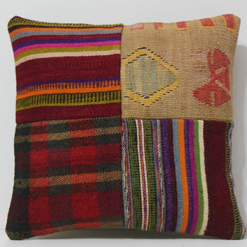 bedroom pillow 16x16 DECOLIC designer home decor antique rug colorful throw pillow primitive pillow patchwork red 15440 kilim pillow 40x40