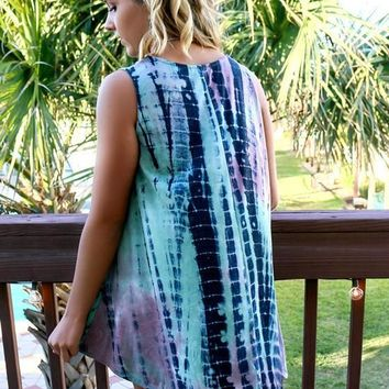 Blue-Purple Patchwork Tie Dye Draped Round Neck Sleeveless Bohemian Mini Dress