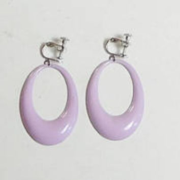 Clip On Hoop Earrings, Hippie Jewelry, Boho Hoop Earrings, Screwback, Light Purple, Vintage Hoops, New Clips
