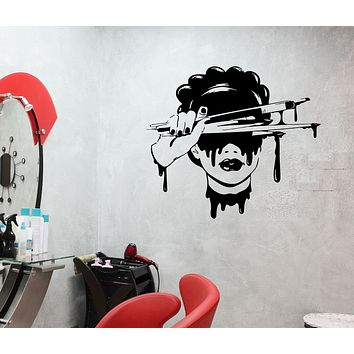 Wall Decal Girl Brushes Paint Artist Beauty Salon Makeup Vinyl Sticker (ed1449)