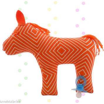 Orange Pony Plush, Pony Plushie, Orange Plushie, Soft Plush Toy, Handmade Stuffed Toy, Stuffed Pony, Nursery Decor