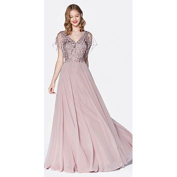 A-Line Chiffon Gown Mauve With Lace Bodice And Flutter Sleeve