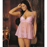 Embroidery & Sheer Babydoll W-underwire Cups, Adjustable Straps & G-string Pink 2x