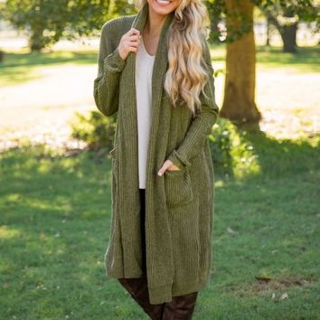 I Put A Spell On You Cardigan - Olive