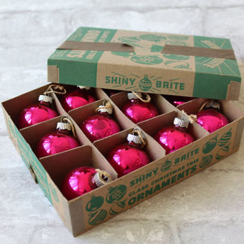 Shiny Brite Christmas Ornaments in Box, Original Mercury Glass Hot Pink Made in USA Colloectible Set of 1940s Vintage Balls FREE US Shipping