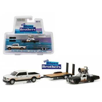 "2015 Dodge Ram and 1974 Dodge Monaco ""Bluesmobile"" on Flatbed Trailer ""Blues Brothers"" Movie (1980) 1/64 Diecast Model Cars by Greenlight"